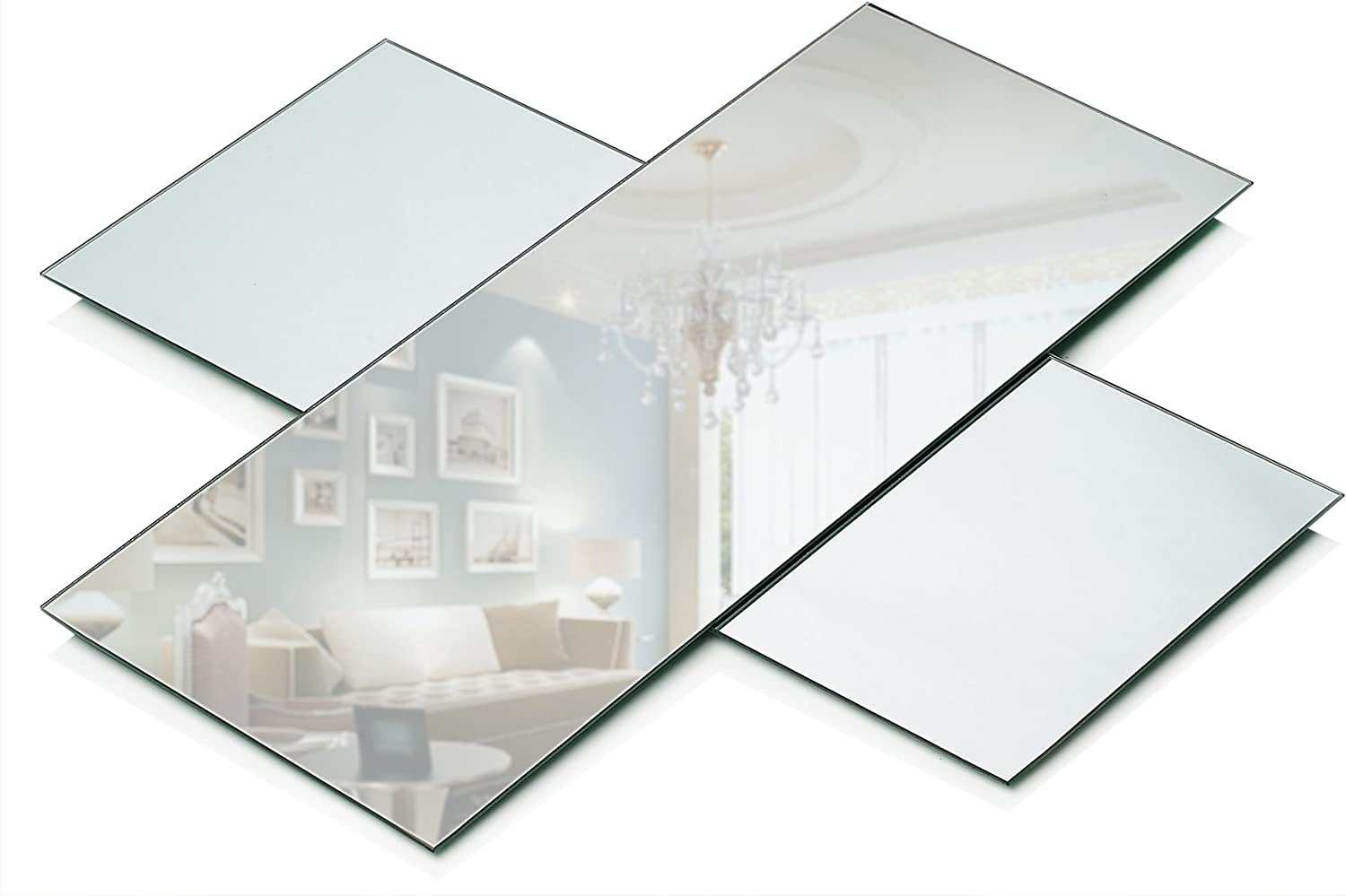 Rectangle Mirror Tray - Mirrors Glass Plates - 5 x 12 inch with 2 mm Round Edge - Great as Wedding and Party Table Centerpieces, Candle Plate Holder, Wall Decor. (Set of 3)