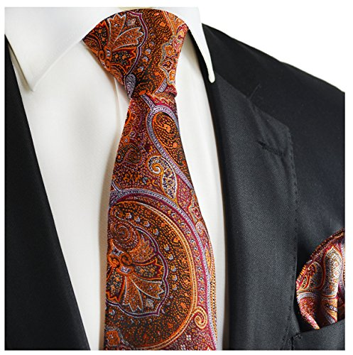 (Burnt Henna and Orange Silk Tie and Pocket Square Paul Malone Red Line)