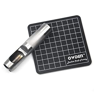 OWDEN 12Piece Leather hollow punch set with a free cutting mat, Cut leather rubber paper Soft material