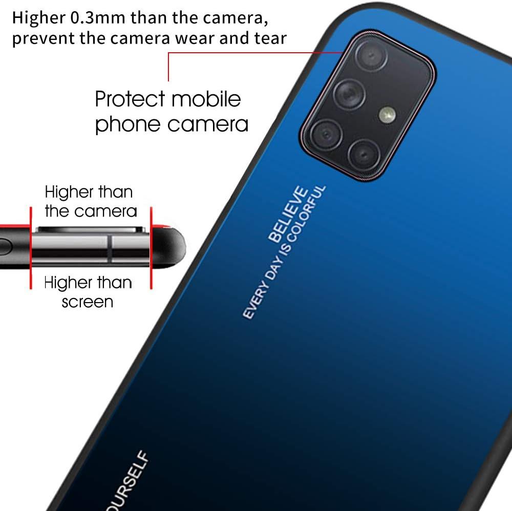 Dclbo H/ülle f/ür Samsung Galaxy A71,Handyh/ülle Schutzh/ülle Hart Plastik Glas Spiegel Case Elegant H/ülle Silikon D/ünn Rahmen Schale Etui Cover Handytasche f/ür Samsung Galaxy A71-Gr/ün Blau