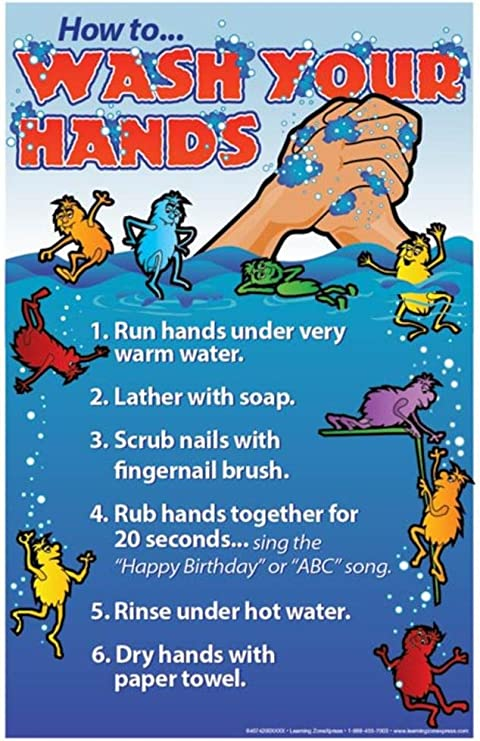 11x17 Wash Your Hands English Poster Educational Laminated Poster Amazon Co Uk Kitchen Home