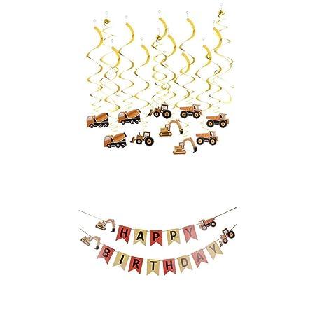 Feliz Cumpleaños Cartas Tractor Coche Papel Bunting Banner Y ...