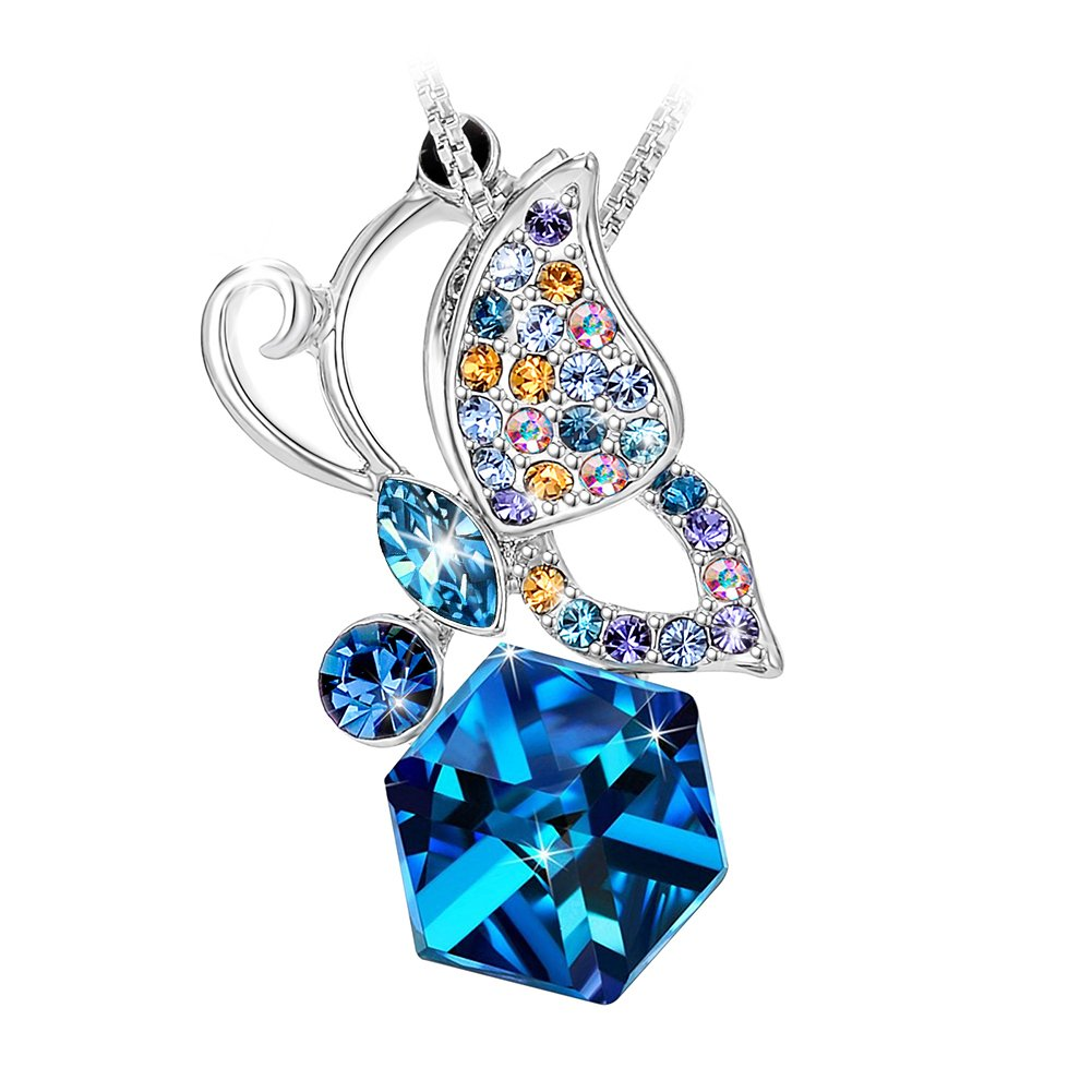 Tojean Gifts for Her 'Lucky Butterfly ' Necklace Women Jewelry Pendant Made with Blue Swarovski Crystal, Birthday Gift for Wife Daughter Mother in Law Best Friend