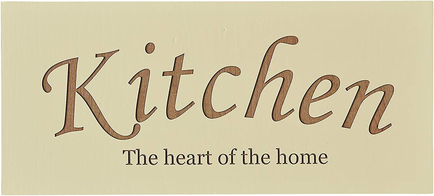 Carol's Inspirations Farmhouse Kitchen Decor Wall Sign | Wood Plaque Engraved with Kitchen The Heart of The Home | Hanging Wall Decor for House | Made in USA, 18x6 Inches