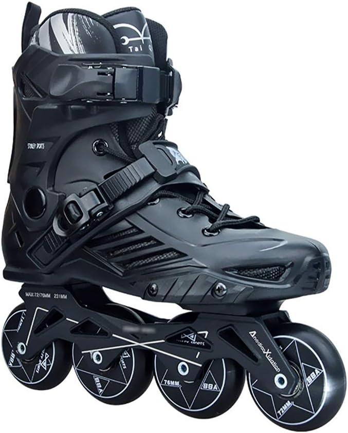 インラインスケート ローラースケートプロのインラインスケート調節可能なスケート男性と女性のスケート最高の誕生日プレゼント (Color : 黒, Size : L) 黒 Large
