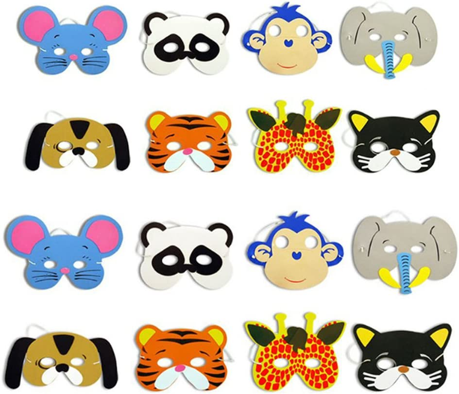 TOYMYTOY 12pcs mascarilla animal para los niños de los niños favores de fiesta de cumpleaños vestir traje