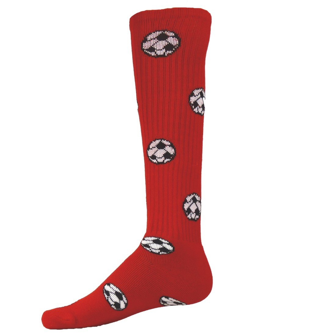 Red Lion Soccer Balls Design Athletic Sports Knee High Soft Socks ( Red - Medium )