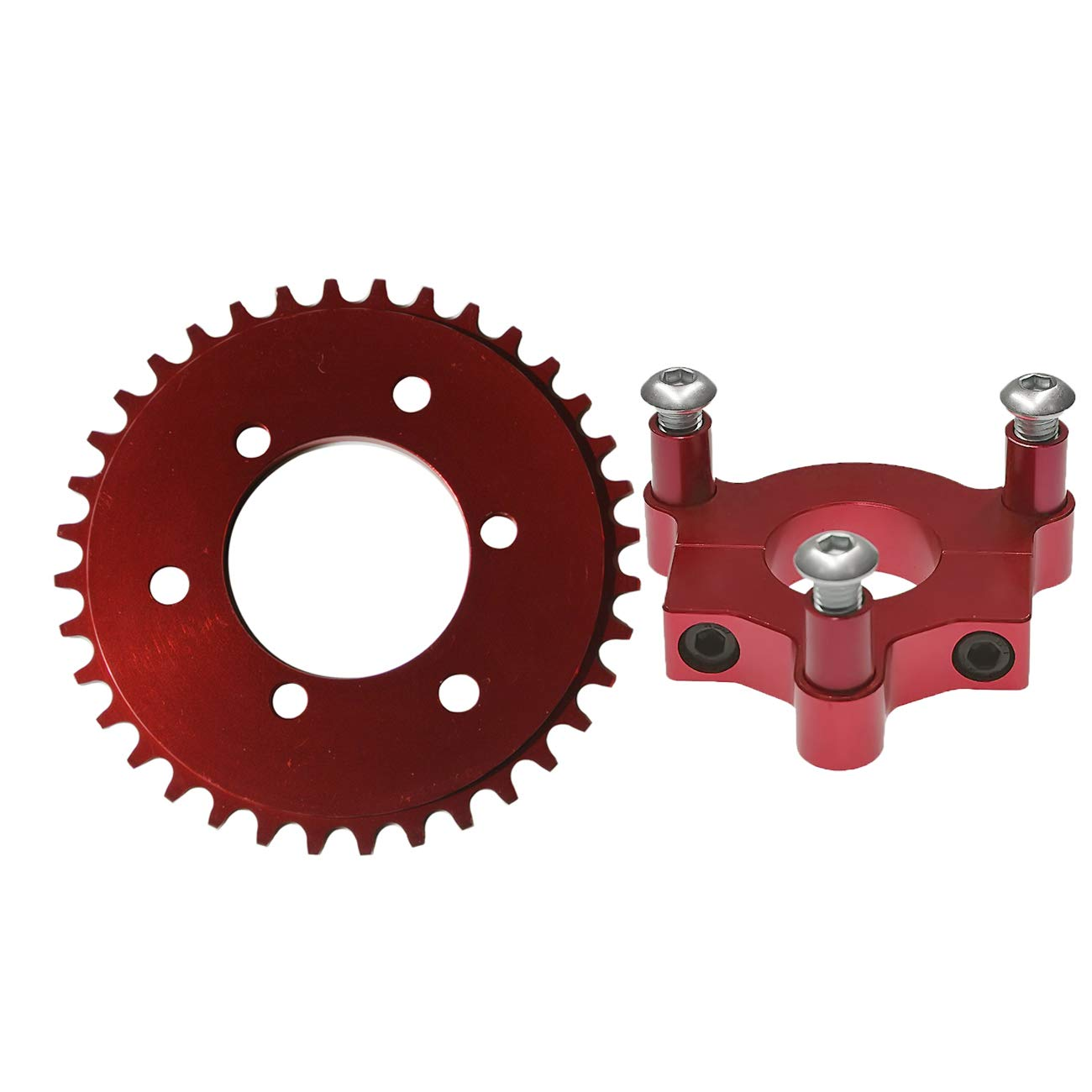 JRL Blue CNC 36T Sprocket WT Adapter Assembly For 60cc 80cc Gas Motorised Bike