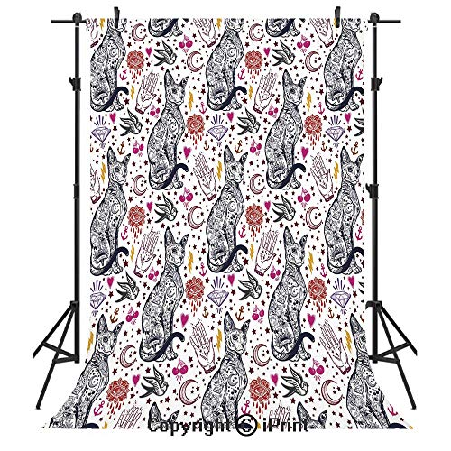Egyptian Photography Backdrops,Traditional Tattoo Pattern with Gothic Magic Icons Witchcraft Symbols Kitty Hands,Birthday Party Seamless Photo Studio Booth Background Banner 6x9ft,Multicolor