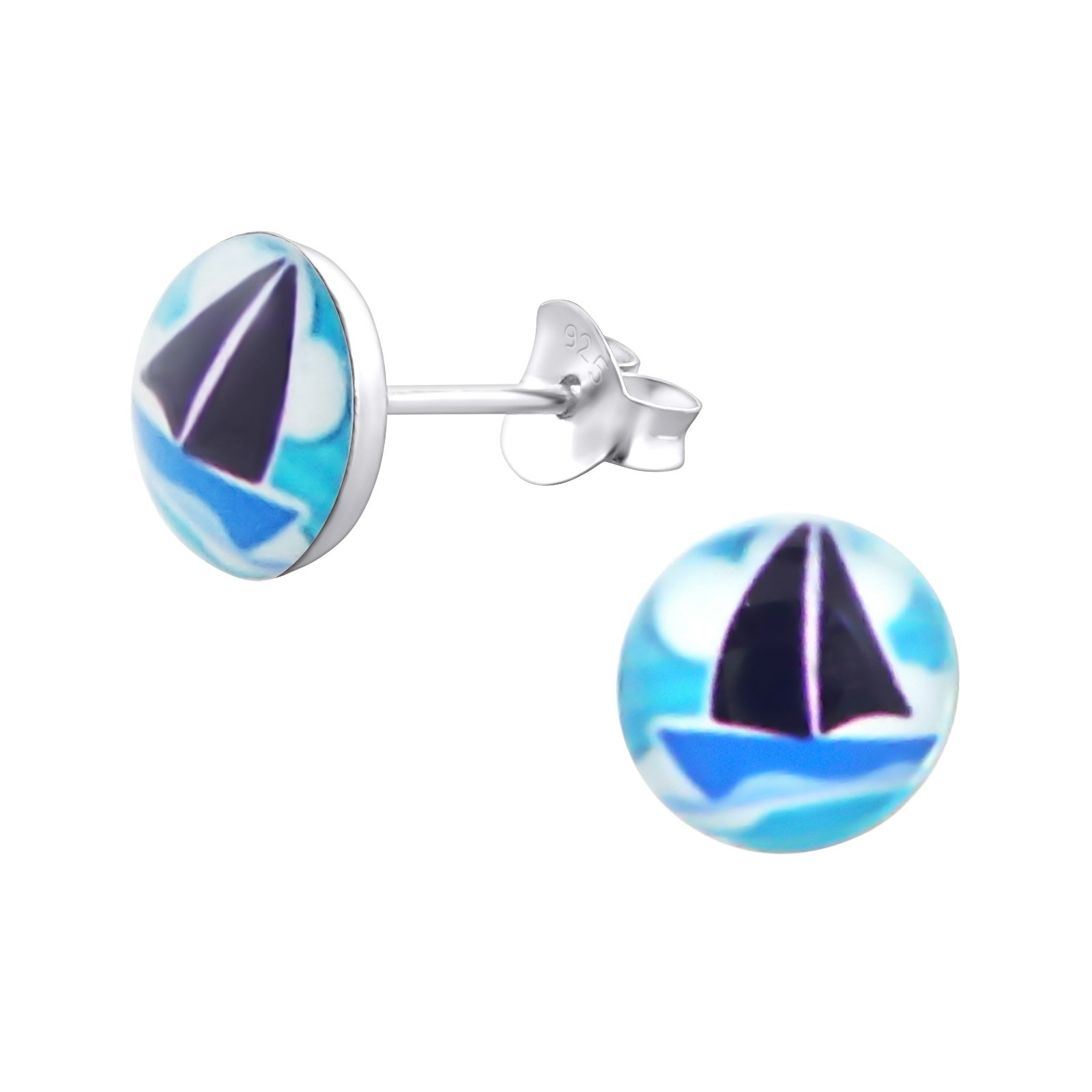 Hypoallergenic Sail Boat Stud Earrings for Girls (Nickel Free and Safe for Sensitive Ears)