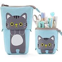 iFeather desk organiser cat pencil case canvas pen holder vertical stationery box student case (blue)