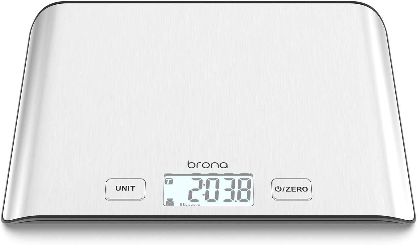 BRONA Digital Kitchen Food Scale 5KG / 11lb for Cooking, Baking, Meal Prep, Keto Diet and Weight Loss, 0.1oz / 1g Accuracy, Stainless Steel