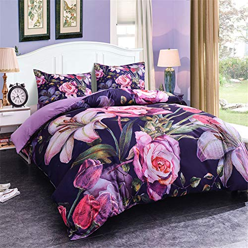 (WURUIBO Queen 3D Floral Duvet Cover Set, Soft Lightweight Microfiber Bedding Set 2 Pillow Shams and 1 Duvet Cover with Zipper Closure (Style 2, Queen))