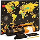 "Scratch off Map of the World, Detailed Cartography, Travel Map with Outlined US States and Countries, Size 24X17"" by Newverest"
