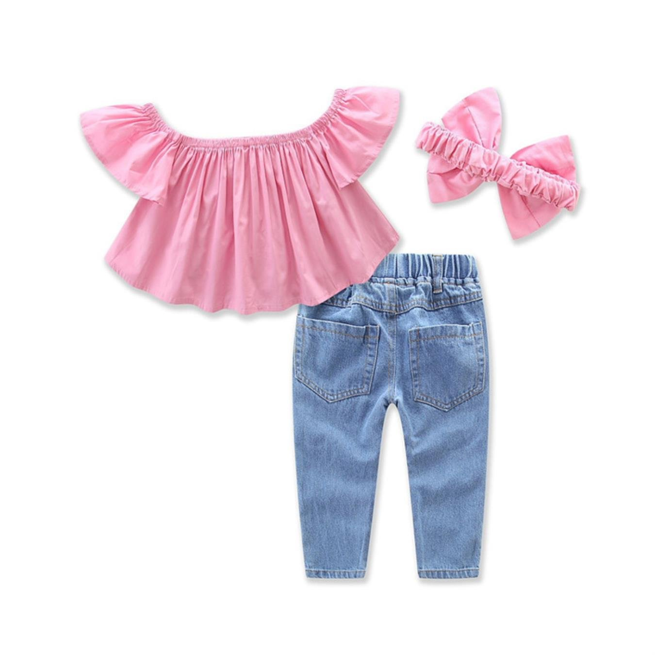 Amazon.com: Girls Clothing Sets Summer Fashion Kids Butterfly Sleeve Shirt+Ripped Jeans+Headband Clohtes Suit: Clothing