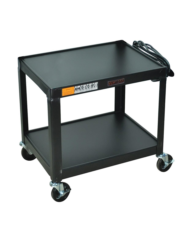 Luxor Multipurpose W26E 2 Shelves Fixed Height Steel A/V Cart - 26'' H, Black by Luxor