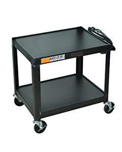 Luxor Black Metal 2 Shelf Multipurpose steel AV Cart