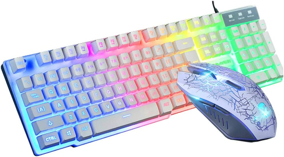 Games Keyboard & Mouse Combos T6 Rainbow LED Backlight USB Ergonomic Gaming Keyboard and Mouse Set with Mice Pad for PC Laptop (White)