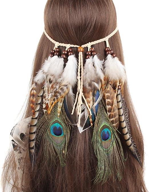 TININNA Diadema para el pelo de Pavo real Pluma Venda indio Hippie ...