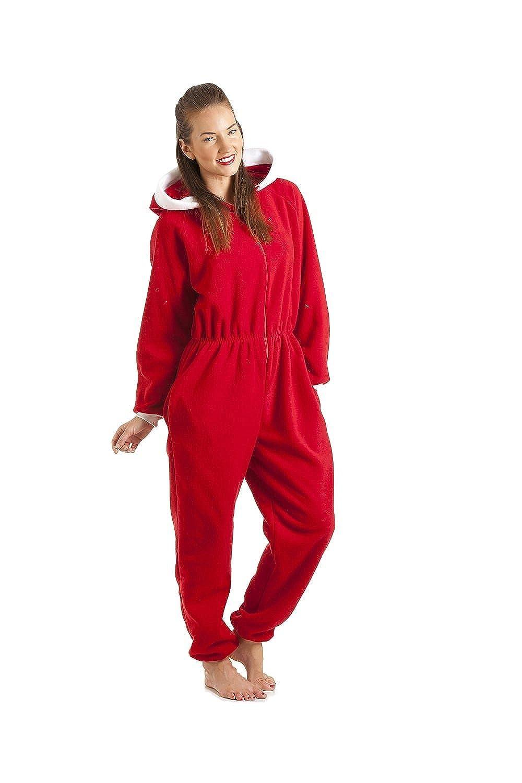 Camille Womens Red Luxury Soft Fleece Hooded Onesie