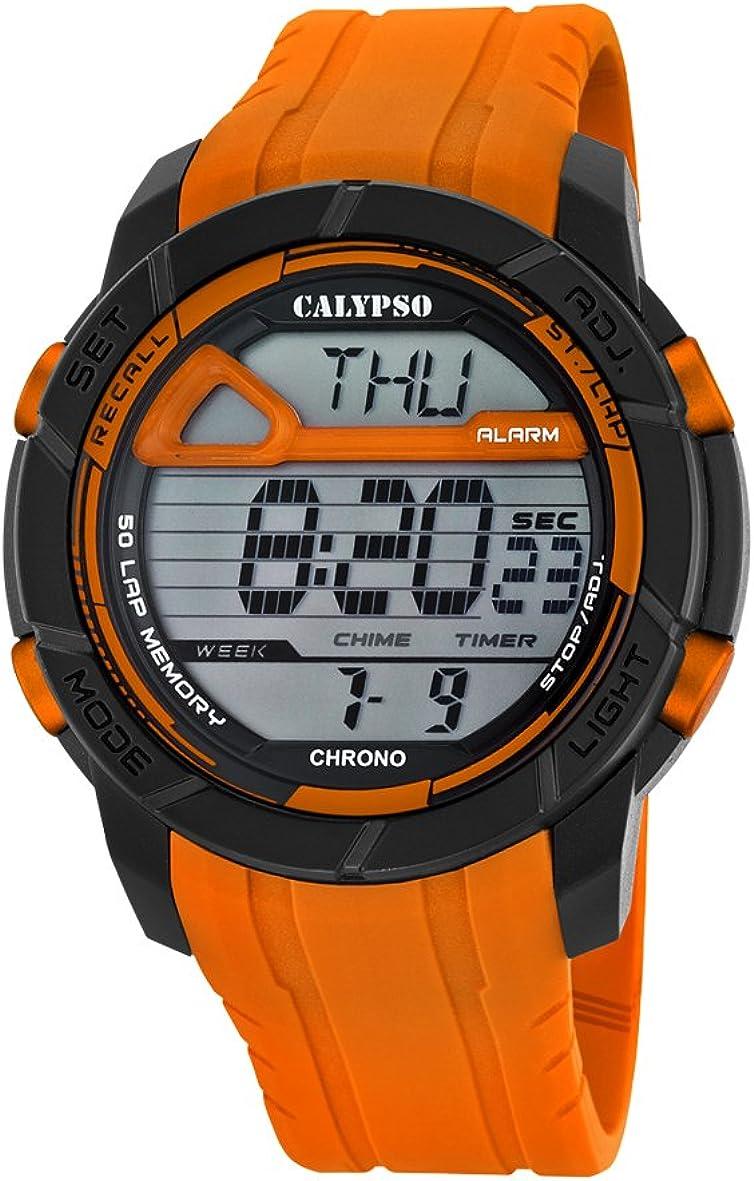 Calypso Hombre Reloj Digital con Pantalla LCD Pantalla Digital Dial y Correa de plástico Naranja k5697/3