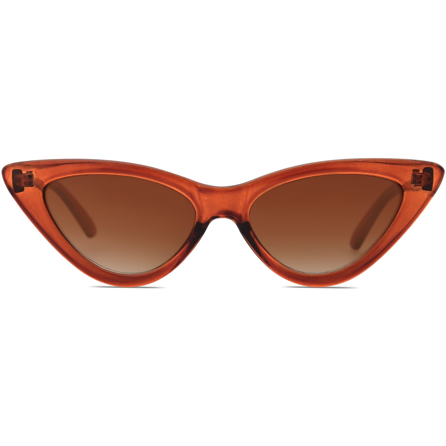 a97e0f6fcf51 SOJOS Retro Vintage Narrow Cat Eye Sunglasses for women Clout Goggles  Plactic Frame Cardi B with Brown Frame Brown Lens  Amazon.in  Clothing    Accessories