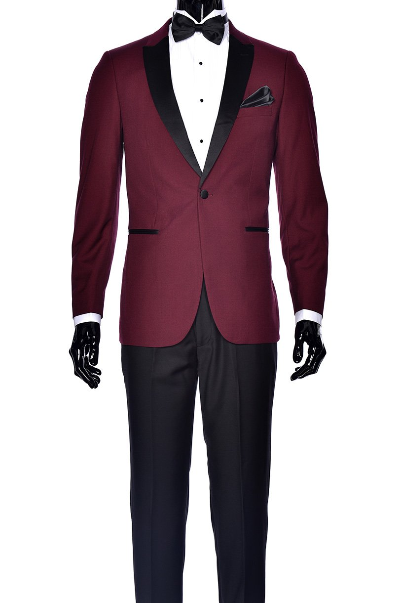 Fine Tuxedo Men's New Fashion - Classic Formal Tuxedo Suit - Ultra Soft Fabric (42 Short, Burgundy With Black Pants Slim Fit)