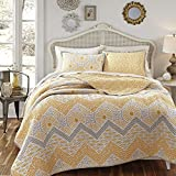 3 Piece Multi Geometric Chevron Stripes Themed Quilt Set King Size, Stylish All Over Rich Textural Striped Pattern, French Country Style, Zig Zag Reverse Bedding, Vibrant Colors Grey Yellow White