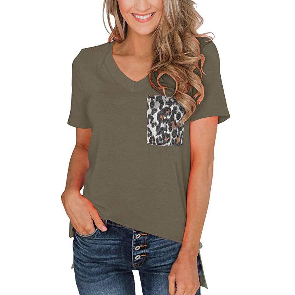 2019 New Women's Summer Casual Short Sleeves V Neck T Shirt Print Basic Tops with Leopard Pocket Army Green (Army Green, XXL)