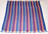 Luxury Hand Twill Weave Large Shoulder Scarf- Soft & Comfortable, Blanket, Blue Stripes 123cm X 123cm