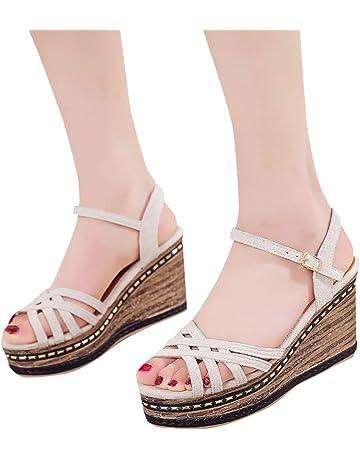 7c15a118ea9 Women s Wedge Sandals Summer Platform Sandals Fashion Open Toe Criss Cross  Strap Buckle High Heels
