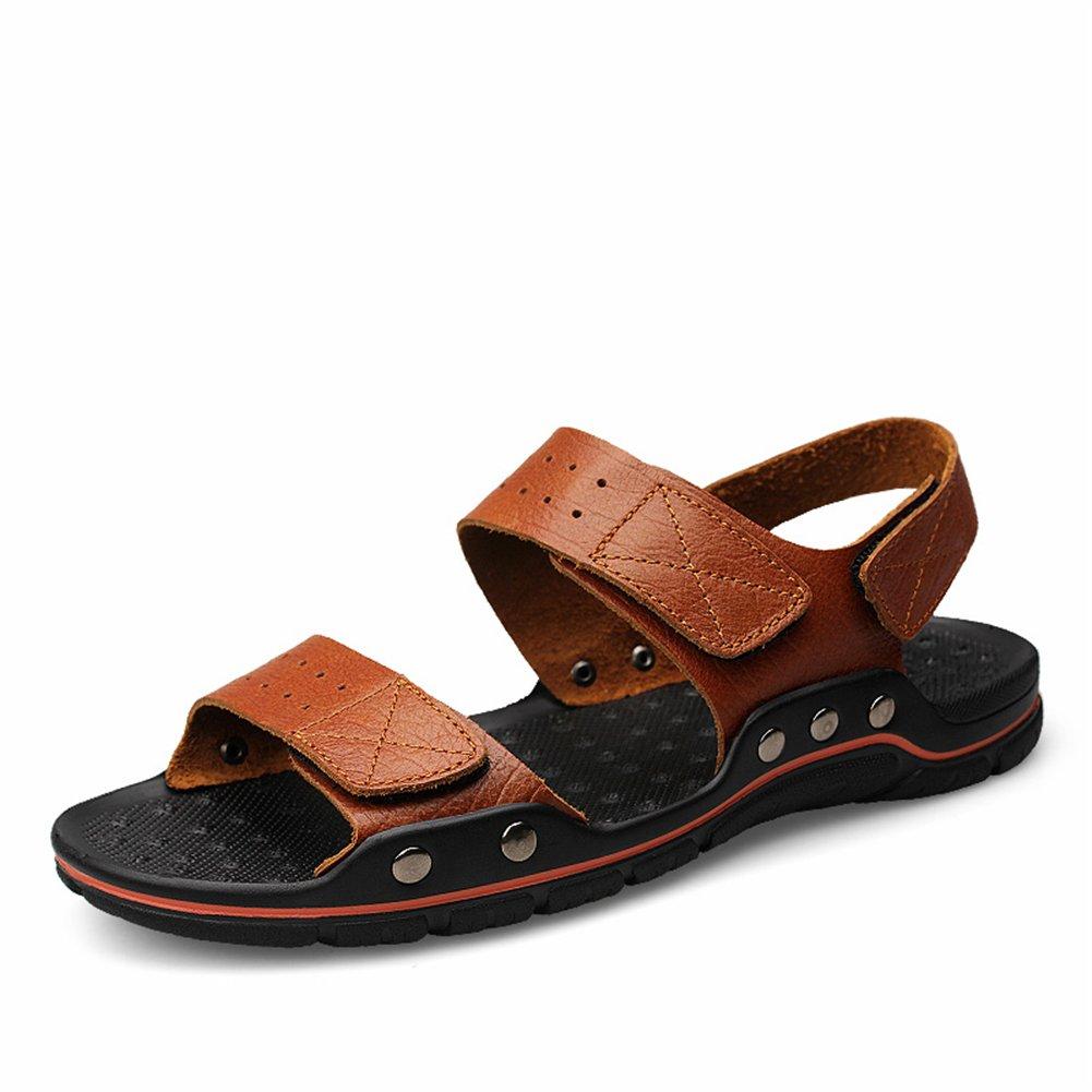 Zapatos de Hombre Cuero Sandalias Punta Abierta Zapatillas Playa Marrón 48 EU Marrón