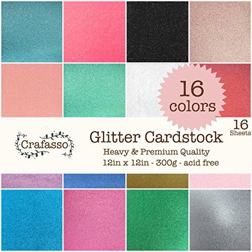 Crafasso 12 x 12 300gms Heavy & Premium Glitter cardstock, 16 Sheets, 16 Colors