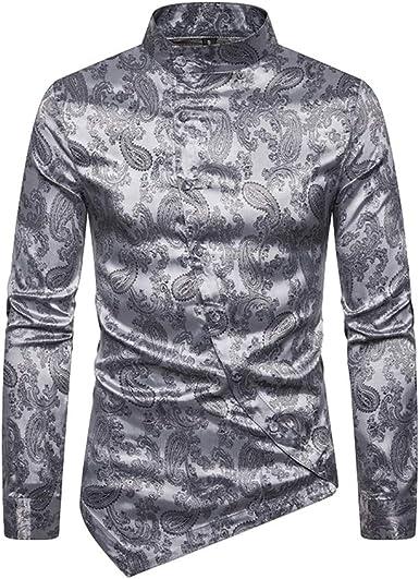 Hombre Camisas de Manga Larga Moda Estampado Floral Elegante Camisas Personalidad Botón Oblicuo Dobladillo Irregular Camisas Cuello de Pie Slim Fit Camisa de Casual: Amazon.es: Ropa y accesorios