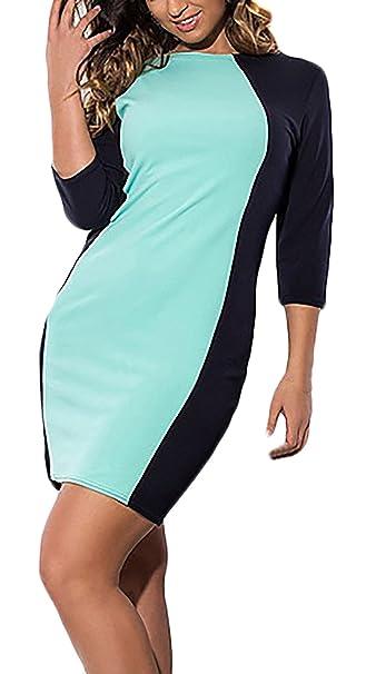 Mujer Vestido Mujer Fiesta Cortos Talla Grande Multicolor Vestido Coctel Mangas 3/4 Cuello Redondo Slim Fit Paquete De Cadera Ajustado Vestidos De Noche ...