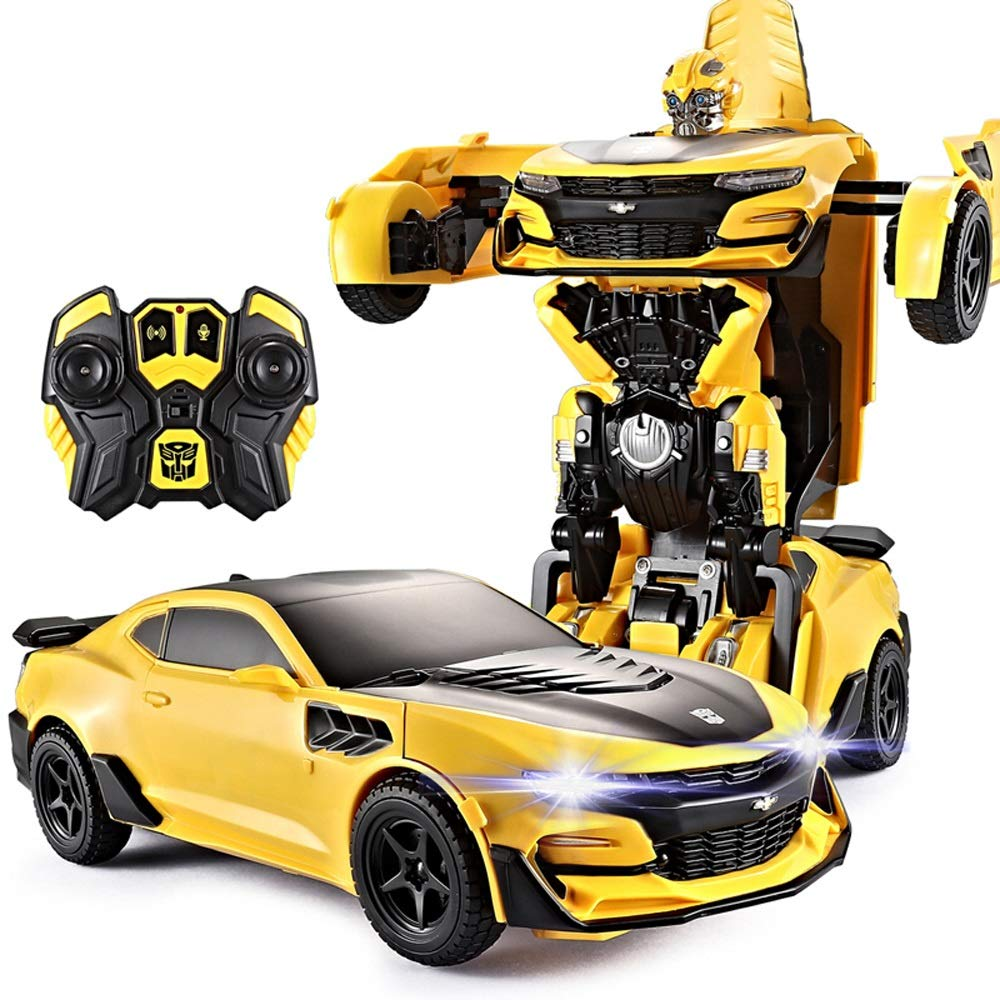 Kikioo Transformer Remote Control Car Toys Large-buumbleebee Voice-Activated Induction Deformation Autobot Model Rechargeable Car Remote Robot Intellectual Bots The for Christmas Day