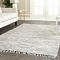 Safavieh Montauk Collection MTK753A Handmade Flatweave Silver Cotton Area Rug (5 x 8)