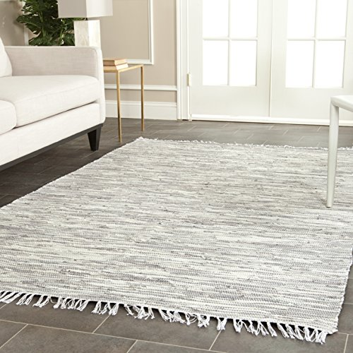 Pattern Woven Rug - Safavieh Montauk Collection MTK753A Handmade Flatweave Silver Cotton Area Rug (6' x 9')