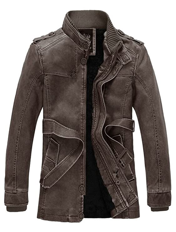 Vogstyle Herrn Winterjacke Kunstleder Lederjacke Pelz Fleece Mantel Jacken:  Amazon.de: Bekleidung