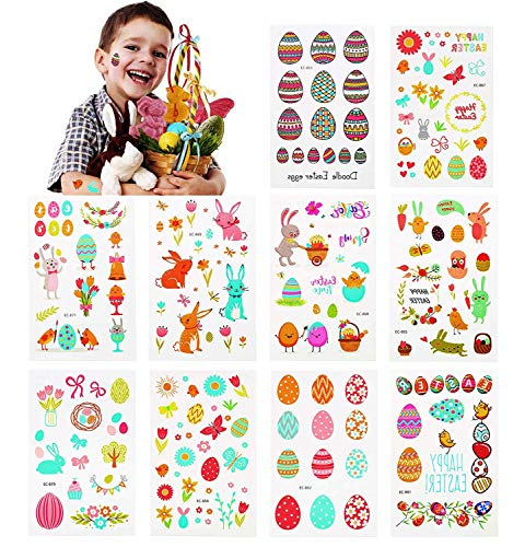 CCINEE Assorted Bunny Temporary Tattoo Stickers Easter Eggs Tattoos for Kids Easter Party Favors 10 Sheets