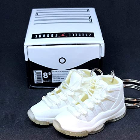 best service 79687 54508 Amazon.com  Pair Air Jordan XI 11 High Retro All White Silver Anniversary  Sneakers Shoes 3D Keychain 1 6 Figure + Shoe Box  Everything Else