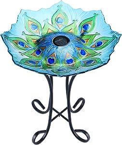 "MUMTOP Outdoor Glass Birdbath Solar Birdbaths with Metal Stand for Lawn Yard Garden Peacock Decor,18"" Dia21.65 Height"