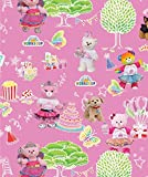 BUILD A BEAR COTTON FABRIC -BUILD A BEAR PARTY IN THE PARK COTTON FABRIC SOLD BY THE YARD