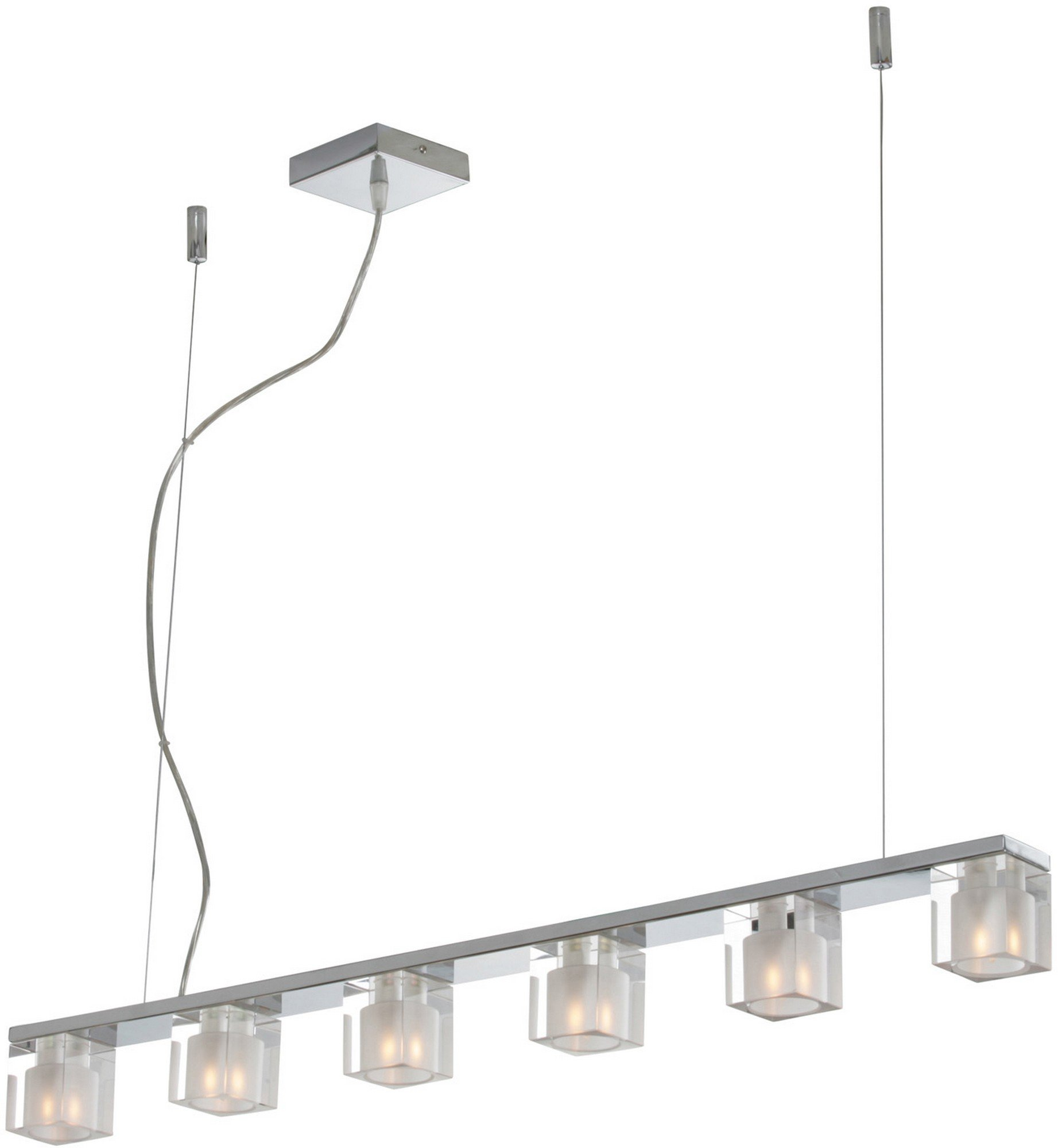 ET2 E22034-18 Blocs 6-Light Linear Pendant, Polished Chrome Finish, Clear/Frosted Glass, G9 Frost Xenon Bulb, 7.5W Max., Dry Safety Rated, 2700K Color Temp., Lucite Acrylic Shade Material, 1400 Rated Lumens