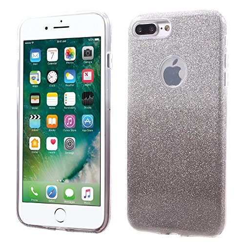 XINCUCO TPU + PC Tasche Hüllen Schutzhülle Case für iPhone 7 Plus with Gradient Color Glittery Powder Paper - grau