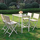Cloud Mountain 5 PC Outdoor Folding Dining Set Rattan Wicker Patio Furniture Set Patio Lawn Dining Table Bistro Set Outdoor Rattan Patio Bistro Set Space Saving 1 Table with 4 Stacking Chairs, Beige Review