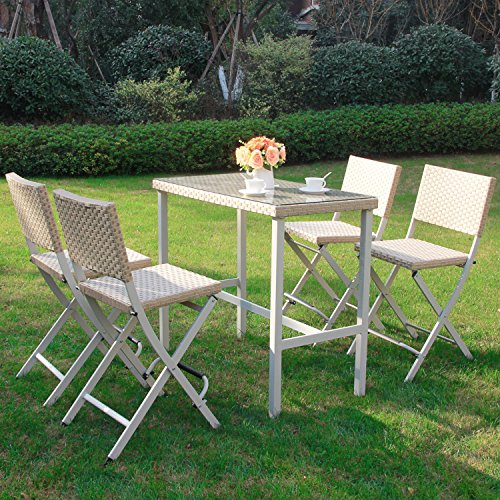 Cloud Mountain 5 PC Outdoor Folding Dining Set Rattan Wicker Patio Furniture Set Bar Set Space Saving 1 Table with 4 Stacking Chairs, (Outdoor Stacking Table)