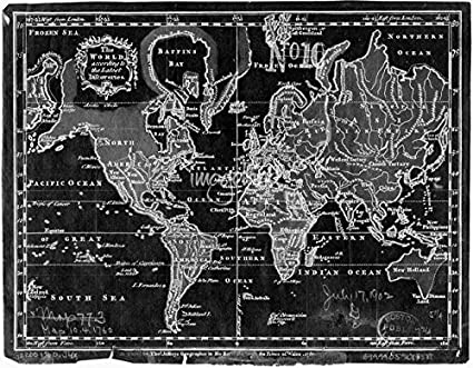 Imagekind wall art print entitled black and white world map 1760 inverse by alleycatshirts