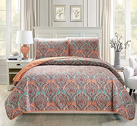 Mk Collection 3pc Bedspread coverlet quilted Reversible Floral Orange Blue New #194 Orange (King)