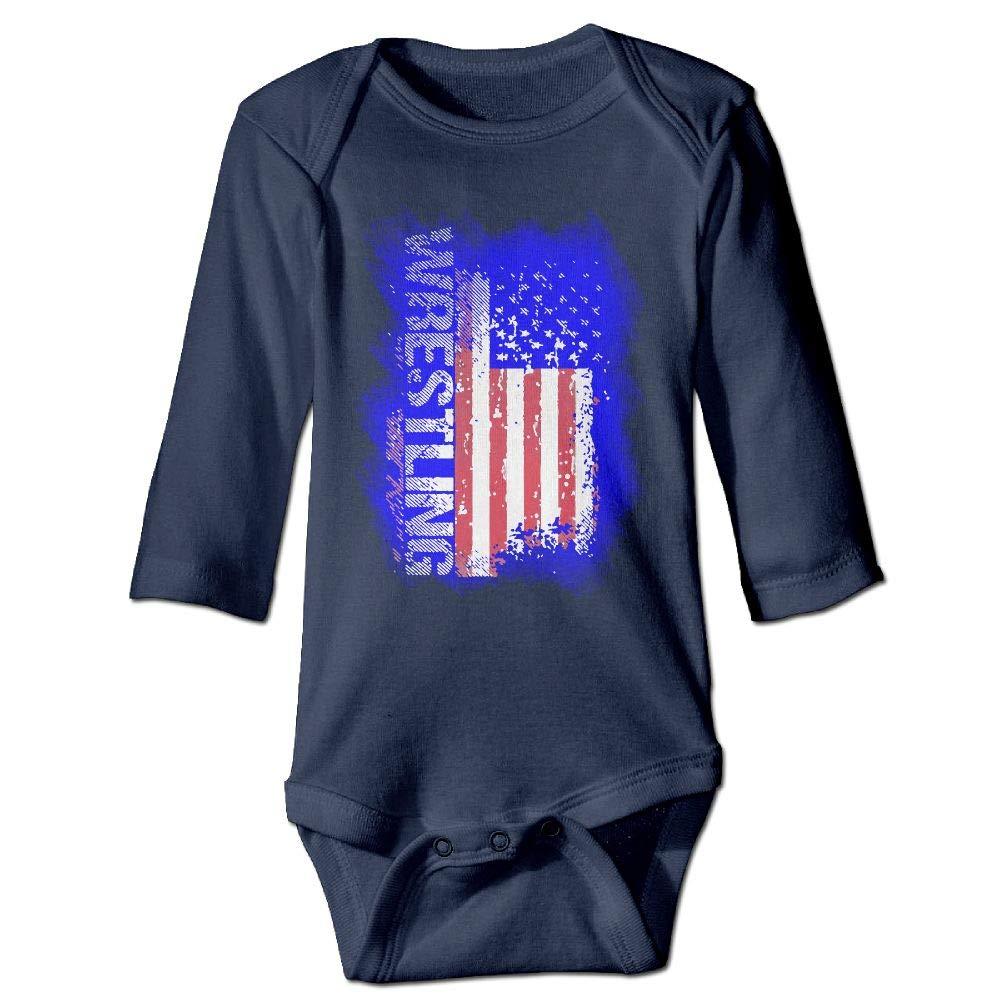 Clarissa Bertha Wrestling American Flag Baby Infant Long Sleeve Onesies Bodysuits